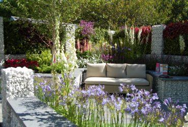 Plantation jardin fleuri gabion